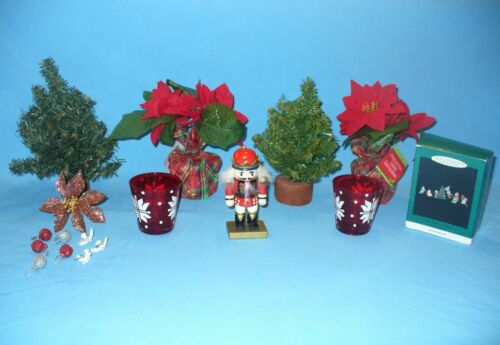 Pine Trees Poinsettias Nutcracker Hallmark Tiny Christmas Helpers Ornaments