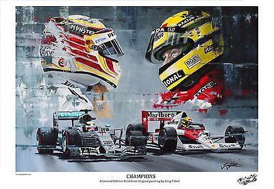 LEWIS HAMILTON SENNA Large A3 limited edition print by Greg Tillett. FORMULA 1