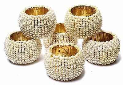 Pearl Beaded Home Decor Napkin Rings Beige Napkin Ring Holders 6 Pcs - Napkin Ring Holders