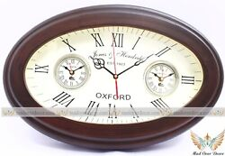VINTAGE WOODEN OVAL WORLD TIME OXFORD WALL CLOCK HOME CABIN DECORATIVE GIFT ITEM