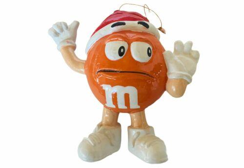 M&Ms Christmas ornament vtg Holiday figurine candy M gift decor santa hat Orange