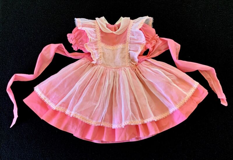Vintage BETTY ODEN Dress Full Circle Ruffle Layered Pinafore Frilly Lace Sz 3T