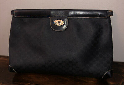 Large Vintage Black Gucci Clutch Bag Purse GG Mono PVC & Leather