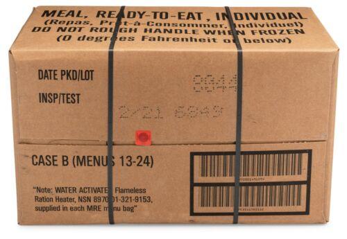 12ct case MRE Meals Ready-to-eat US Military Surplus B Menus 13-24, 2021-inspect