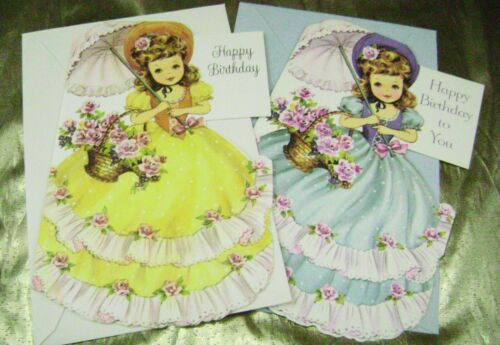 VTG PAPER DOLL GREETING CARD AMERICAN GREETINGS CLASSIC BIRTHDAY LOT of 2 RARE!!