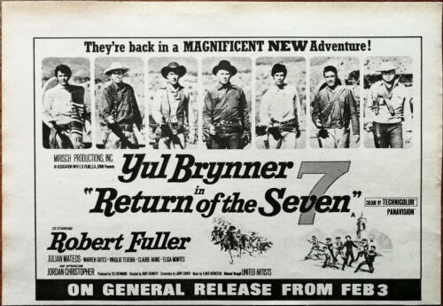 Return Of The Seven Yul Brynner, Robert Fuller Vintage Film Advertisement 1966