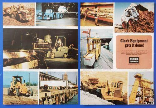 1973 VINTAGE 2 PG PRINT AD - CLARK EQUIPMENT GETS IT DONE!  BUCHANAN , MICHIGAN