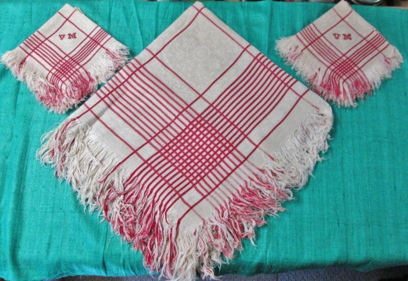 Antique Turkey Red & Beige Fringed Linen Tablecloth & 12 Napkins V G Monograms