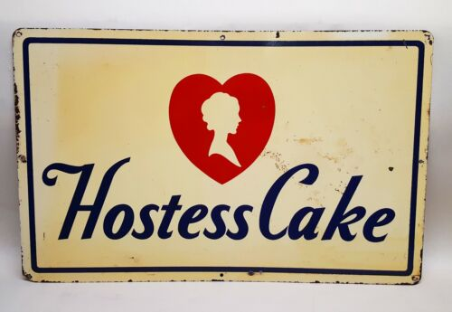 """VINTAGE / ANTIQUE HOSTESS CAKE CUPCAKES GROCERY STORE DISPLAY SIGN 20"""" x 12.5"""""""