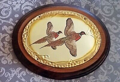Vintage Wood $ Brass / Copper / Metal Wall Plaque Pheasant Hanging Decor Oval