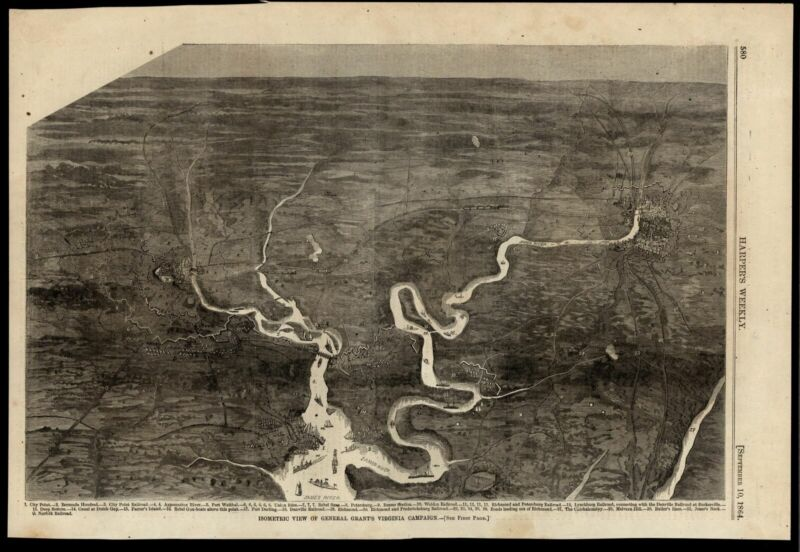 Virginia Richmond James river birds-eye view Grant military campaign 1864 print