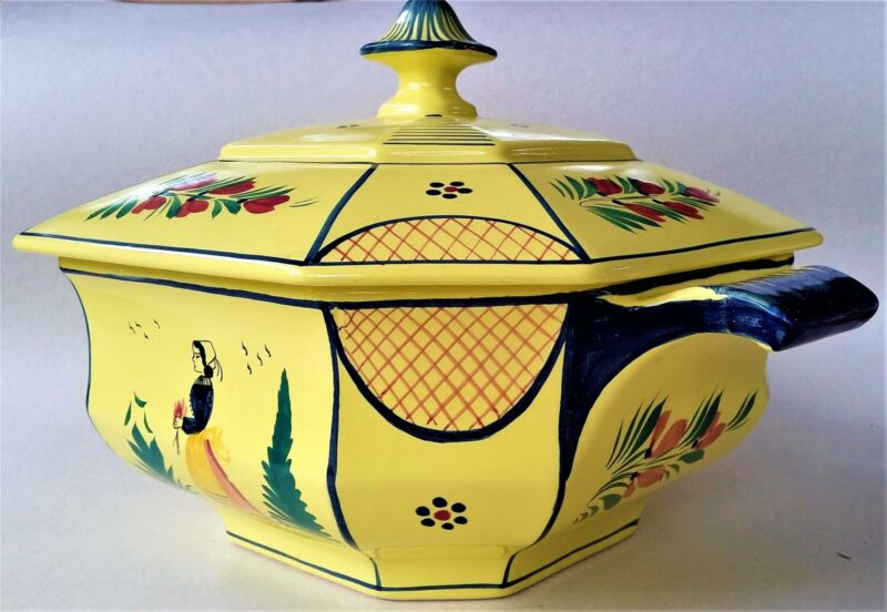 Henriot Quimper Soleil Yellow Large Octagonal Tureen w/ Lid Faience Breton Lady