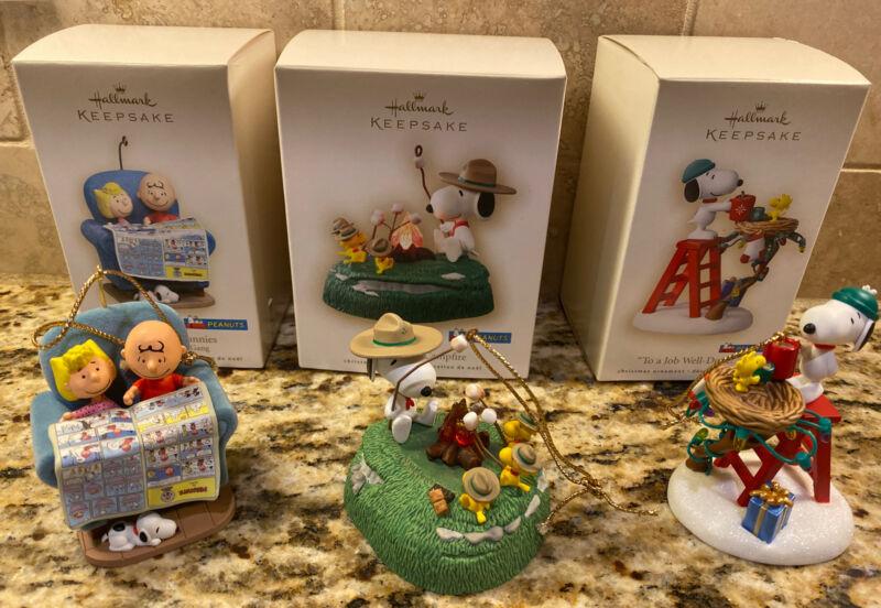 Lot Of 3 PEANUTS Hallmark Keepsake Ornaments Beagle Scouts Sunday Funnies Snoopy