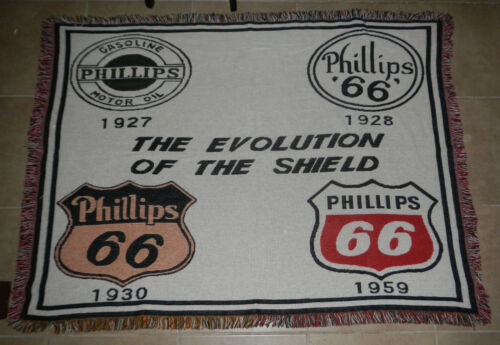 Vintage Phillips 66 Evolution of the Shield Logo Woven Throw Blanket