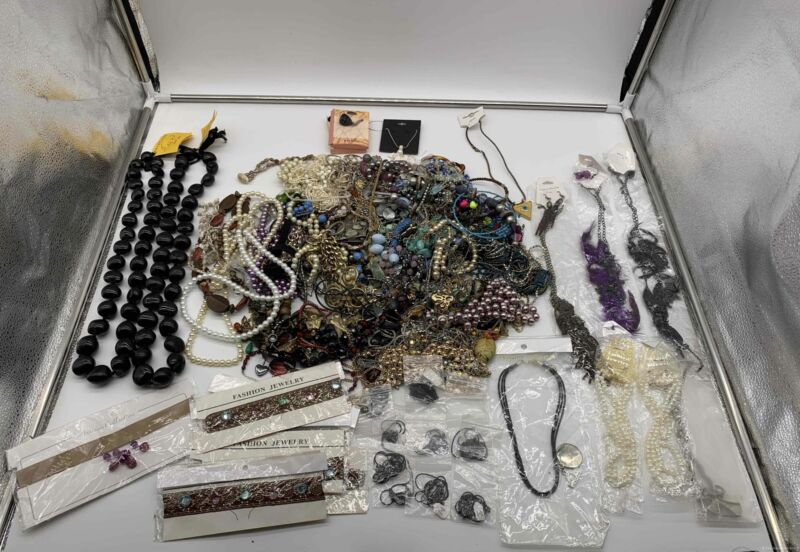 Costume Jewelry 9.1Lbs Bulk Lot Grab Bag of Necklaces