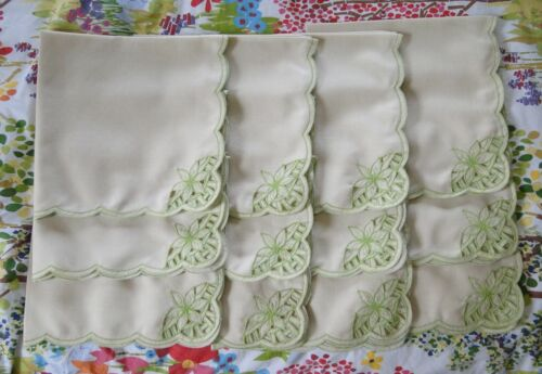 Vintage Cutwork Linen Floral Napkins Lime Green Hallie St Mary - Unused 12 pcs