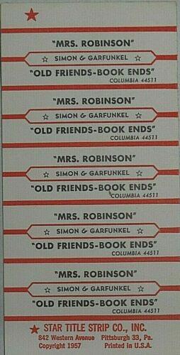 "JUKEBOX TITLE STRIP SHEET - SIMON & GARFUNKEL ""Mrs. Robinson"" Columbia 44511"