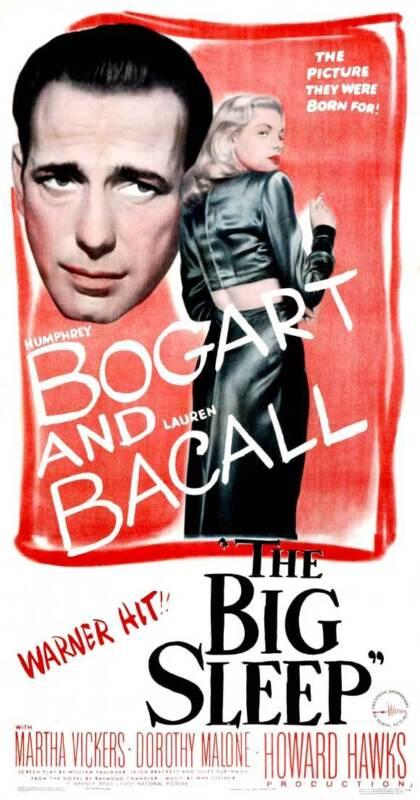 THE BIG SLEEP Movie POSTER 20x40 Humphrey Bogart Lauren Bacall John Ridgely