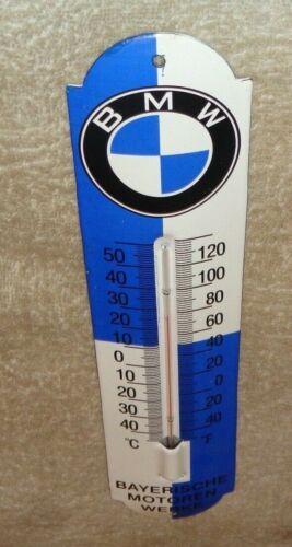 "VINTAGE BMW LUXURY CAR 11 3/4"" PORCELAIN METAL GASOLINE OIL SUV THERMOMETER SIGN"