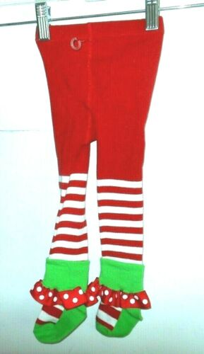 NWOT Holiday tights,6/9m,red,white stripe,sock with ruffle polka dot ribbon trim