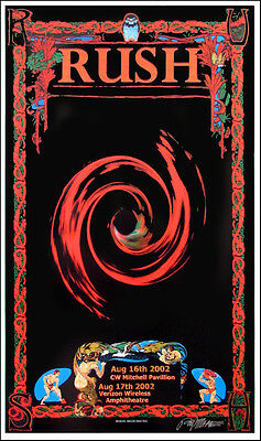 Rush Poster Houston 2002 Original Poster Hand-Signed by Bob Masse