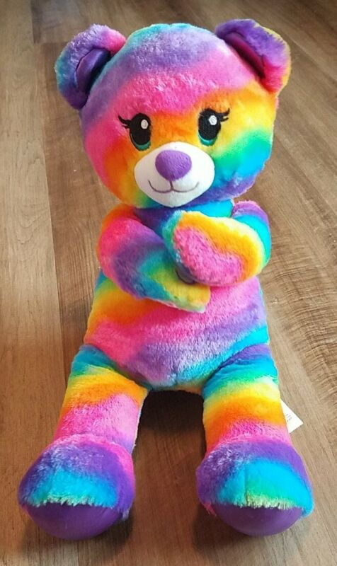 "Build A Bear Rainbow Tye Dye Teddy Bear Plush Heart Hand Stuffed Animal 16"""