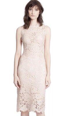 - Dolce & Gabbana Pale Pink Lace Scallop Eyelash Hem Sheath Dress IT 44/US 8 $2395