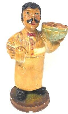 Orig. Antique 19thC American Chalkware Old Fashion Bartender Saloon Man Figurine