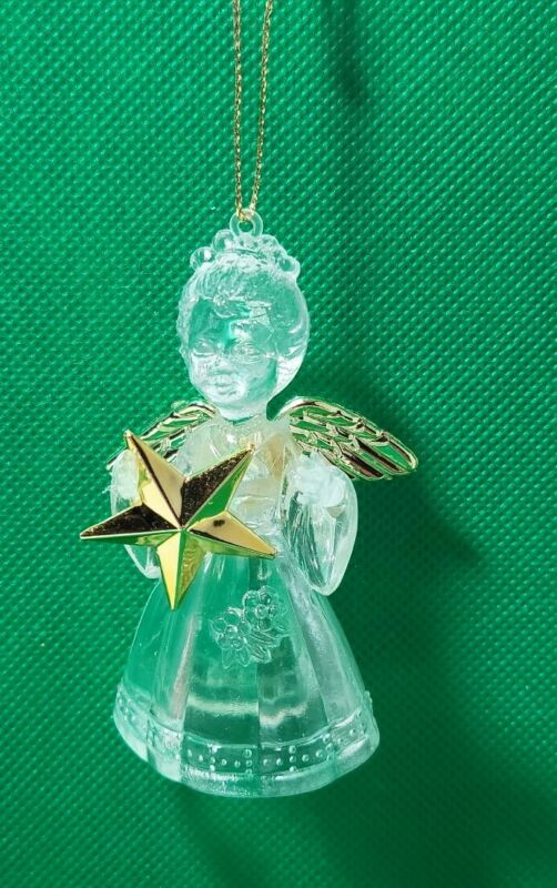 Angel with Star clear plastic Christmas Ornament