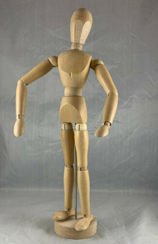 """HUMAN FORM WOODEN WOOD POSEABLE ARTICULATING 12"""" ARTIST MANNEQUIN FIGURE - RARE"""