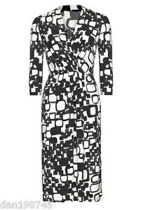 Bnwt-Long-Tall-Sally-Black-White-Graphic-Jersey-Wrap-Dress-UK-12-B26