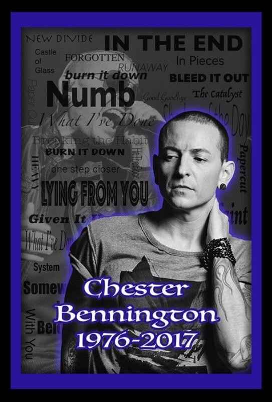 Chester Bennington Memorial 12x18in Poster, Linkin Park Music Art Free Shipping