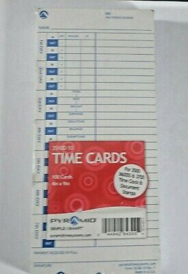 Time Cards 35100-10 X100 Count For 3500 3600ss 3700 Time Clock Document Stamp