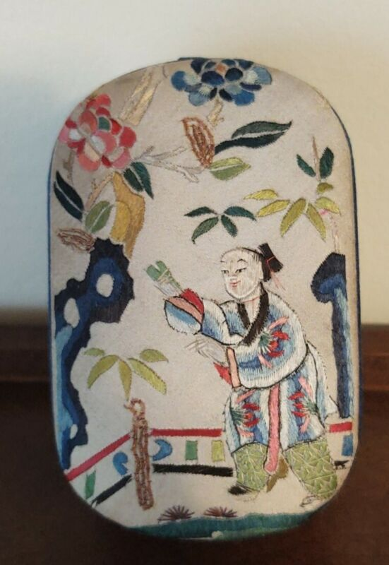 Vintage Chinese Embroidered Fabric Blue Box Jewelry Trinket Made In China