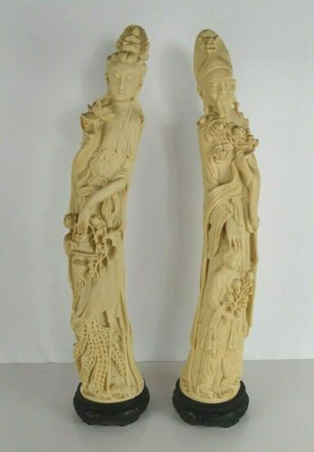 """Chinese Nobles Statues Figures on Stands - 26"""" Tall Pair of 2"""