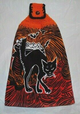 XL KITCHEN/HAND TOWEL W/CROCHETED TOP FOR HANGING/HALLOWEEN BLACK CAT