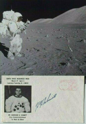 Apollo 17 Crew Harrison Schmitt Autograph Signed Card 11th Moonwalker Authentic