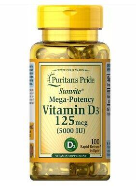 Puritan's Pride Mega Potency Vitamin D3 125 mcg (5000 IU) 100 Softgels