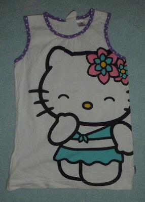 Weißes Hello Kitty Top, teilweise Lila/weiß gepunktet von H&M - Größe 80