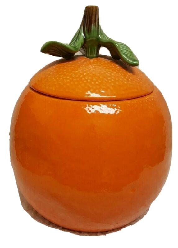 "California Pottery Ceramic Orange Fruit Cookie Jar 11"" Kitchen Food Storage 8218"