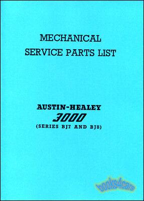 Austin Healey 3000 Parts Manual Shop Book Bj7 Bj8 Service List Catalog Catalogue