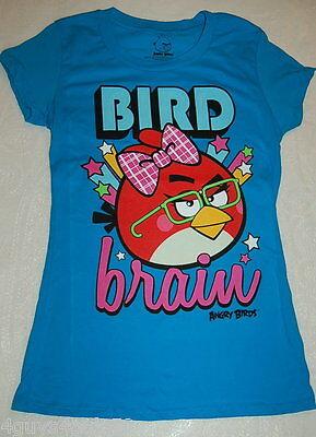 JR Womens Tee Shirt ANGRY BIRDS Bird Brain TURQUOISE Cap Sleeve S M L XL 2XL Bird Womens Cap Sleeve T-shirt
