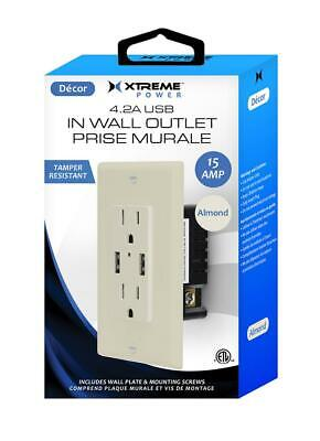 Xtreme Cables 4.2 AMP In-Wall Outlet Replaceable Plate with 2 USB Ports - -
