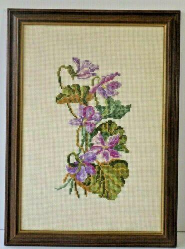 Vintage Handmade Art Embroidered Cross Stich Purple Floral Motif Wood Frame