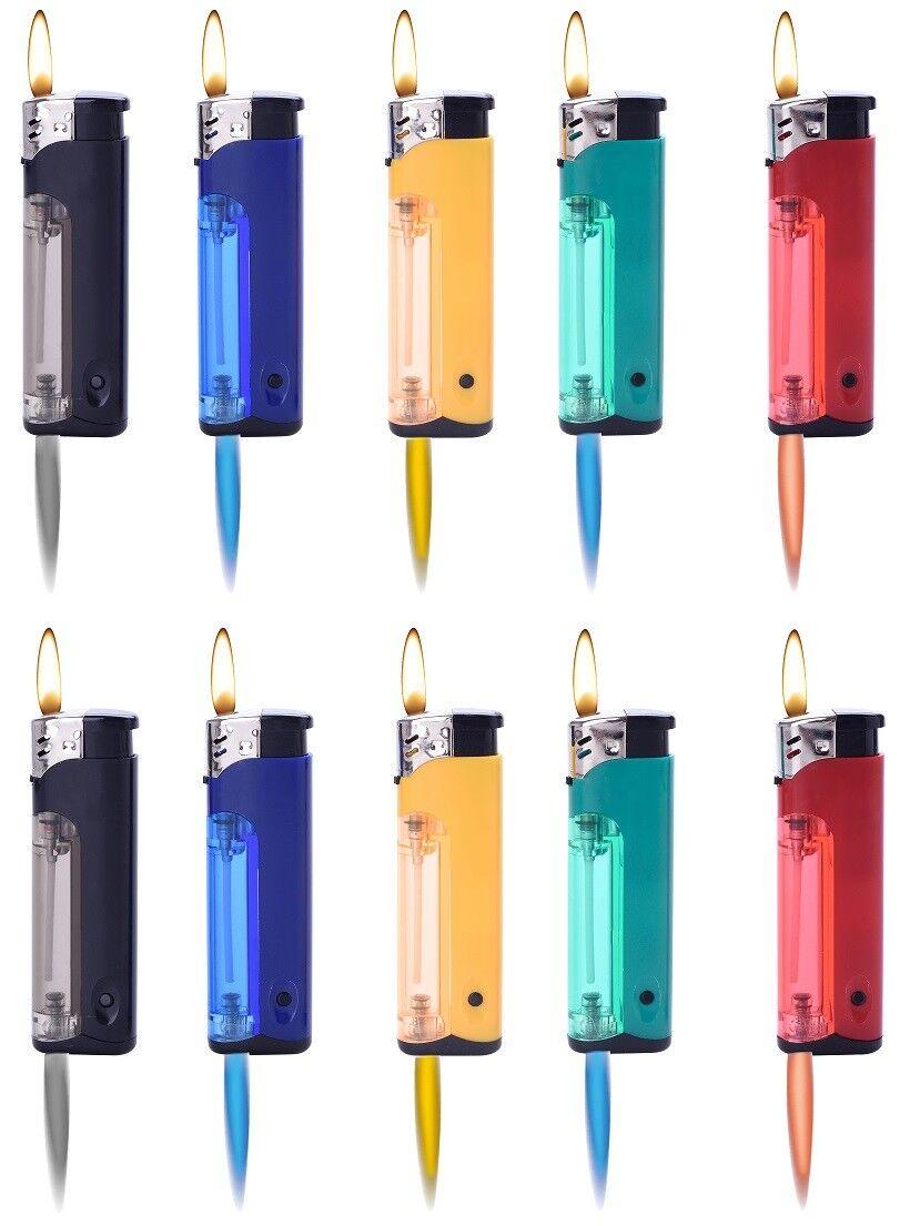 10 - 50 Sturm Feuerzeug in Farbe Turbo Flamme Wind Gas Brenner bunt nachfüllbar  mit Taschenlampe