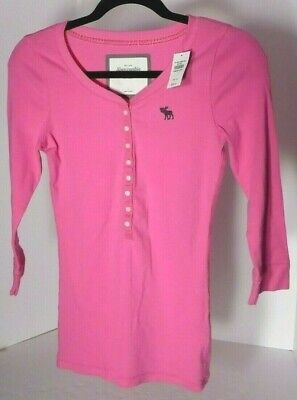 Abercrombie & Fitch Womens Long Sleeve Pink Henley Sz L MSRP $38