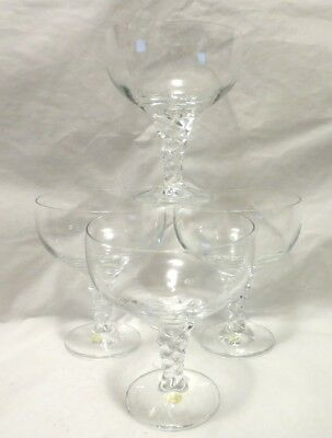 Thomas Holiday Champagne Dessert Cocktail Twist Stem Glass 4 Vierzweck Orig Box