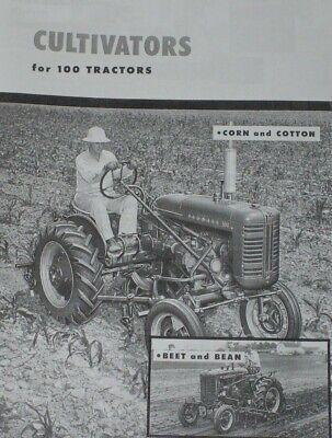 Ih Mccormick Cultivators For Farmall 100 Tractor Brochure 1 Row Super A 140