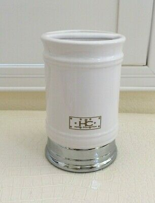 HOTEL COLLECTION Tooth Brush Holder Cup Ceramic Porcelain with Chrome Base Collection Brush Tumbler Holder