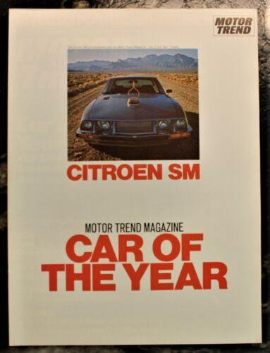 NEW Vintage Citroen SM Motor Trend Magazine Car of the Year Reprint, Uncir.